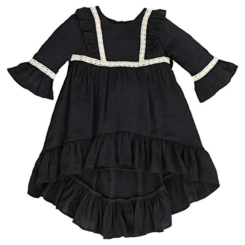Renaissance Costumes Los Angeles (LELEFORKIDS - Toddlers and Girls (2T-7/8th) Prairie Pretty Ruffled High-Low Soft Cotton Dress in Midnight Black Size)