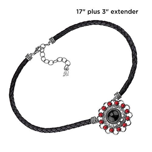 American West Sterling Silver Red Coral and Black Agate Gemstone Black Leather Concho Necklace 17 to 20 Inch