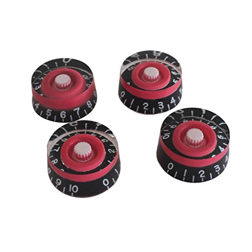 Surfing Set of 4 Red/Black Guitar Speed Control Knobs Volume Tone (Red And Black Guitar)
