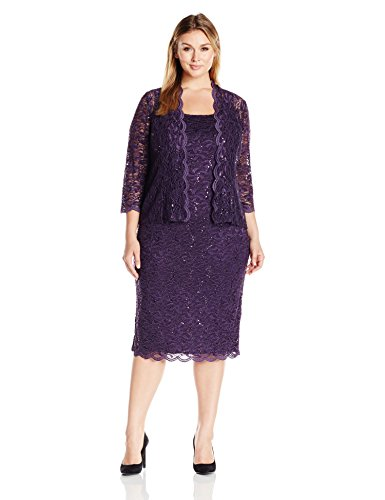 Plus 2 Piece Jacket Dress - Alex Evenings Women's Plus Size Lace Jacket Dress, Eggplant, 24W