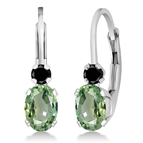 Gem Stone King 1.17 Ct Oval Green Sapphire Black Diamond 925 Sterling Silver Earrings