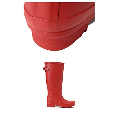 NAN Women's Classic Super Super Soft Rubber Waterproof Rubber Boots Rain Boots Ladies Low Heel Boots Adult Fashion Waterproof Shoes High Boots Shoes Anti-slip Rubber Shoes Boots (Color : Red) or6baHihwh