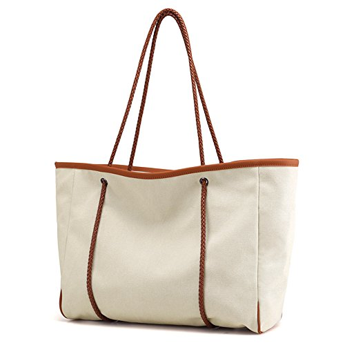 white Bag Spacious Summer SAMSHOWS Shoulder Bag Large Reusable Creamy Travel Beach Tote Women Holiday Basic Canvas Handbag qqw0paB
