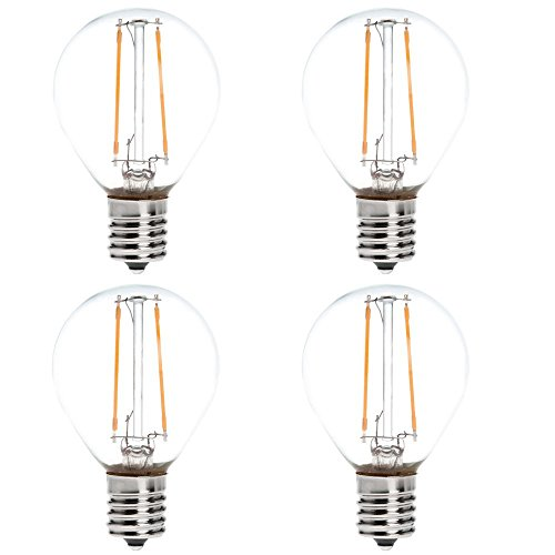 HERO-LED S11-DSE17-2W-WW27 Dimmable S11 E17 Intermediate Base 2W LED Filament Light Bulb, 25W Equivalent, Warm White 2700K, 4-Pack [Attention Oversize 0.39]