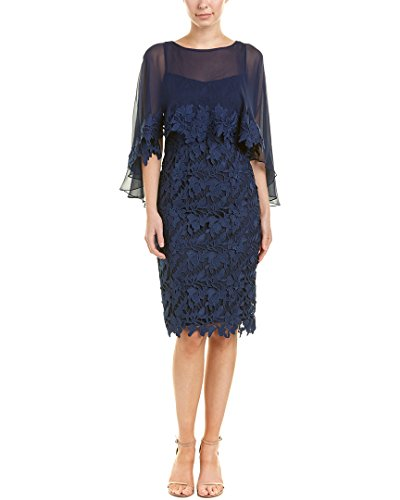 Teri Jon Womens by Rickie Freeman Silk-Trim Cocktail Dress, 2, Blue