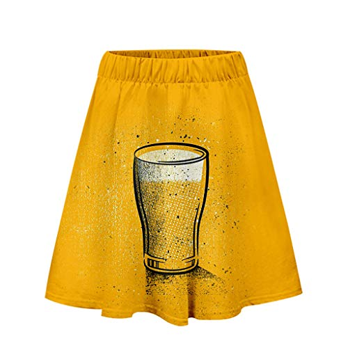 Togethor Casual Short Skirt Beer Festival Ladies' 3D Printing Costumes for Bavarian Oktoberfest Carnival Halloween Yellow]()
