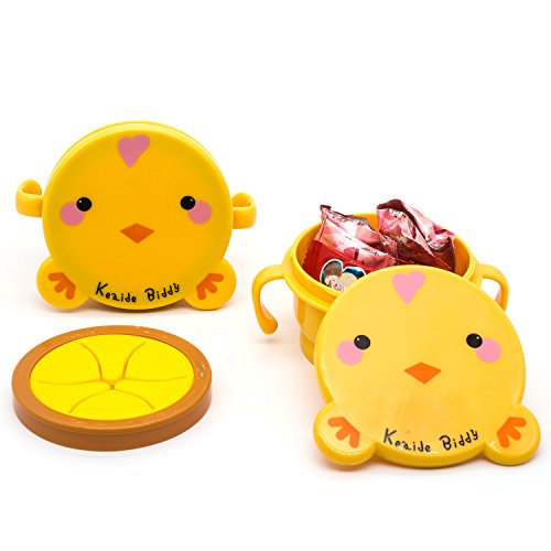 Baby Feeding Bowl Spill Proof Snack Catchers Easy Silicone Plastic with Cover Toddler Biscuit Cup Portable for Home or Go Out (yellow chick)