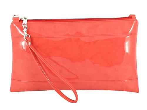 Divine Faux Patent Clutch/Bandolera/Bolso de Crossbody/correa de muñeca tamaño grande Coral Orange