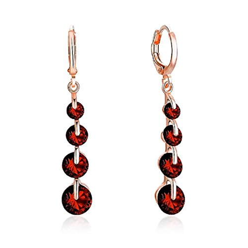 LiveSublime Rose Gold Brilliant Cut Austrian Crystal Drop Dangle Earrings (ruby red) -