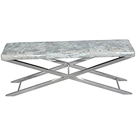 Cross Bench In Grey Metallic Hide