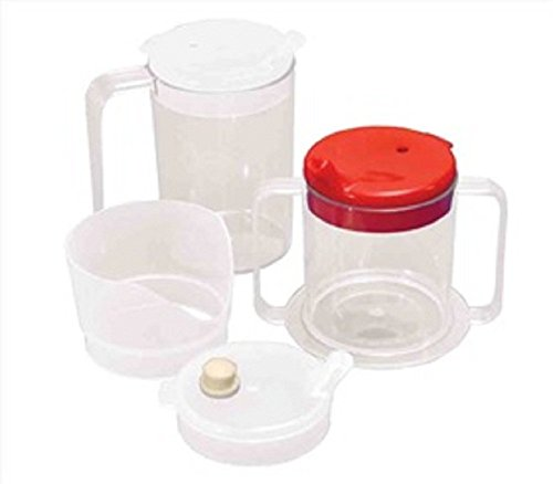 (Alimed 1 Handle Clear Mug with 2 Clear Lids, 20 Per Case)