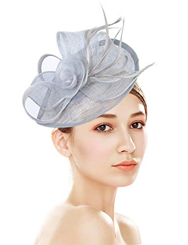 Z&X Sinamay Fascinator Pillbox Hat with Headband Hair Clip for Cocktail Tea Party Gray