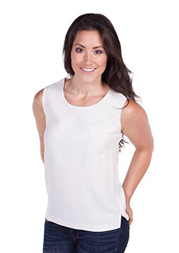 Women's Silk Camisole Tank Tops - Athena (Ivory, X-Large) Great Luxury Gift for Women Great work clothes wear under blazer jacket stylish chic pretty feminine tops shirts tank sleevless shirt WS1101-NWH-XL