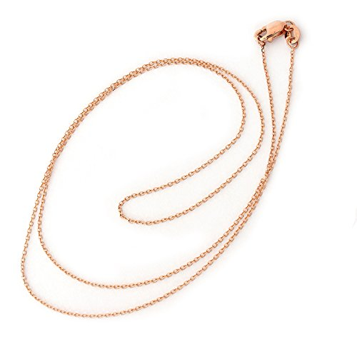 Beauniq 14k Rose Solid Gold 0.9mm Cable Link Chain Necklace, 20