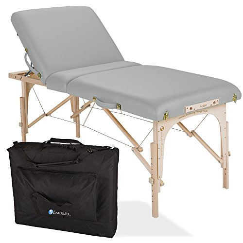 "EARTHLITE Avalon Portable Massage Table Package Tilt – Reiki Endplates, Premium Flex-Rest Face Cradle & Strata Cushion, Carry Case (30""x73"")"