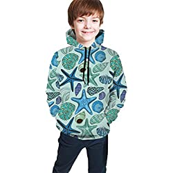 GULTMEE Teen Hooded Sweatshirts,Aquarium Inspired Composition Tropical Seashells and Scallops Cockles and Clams M