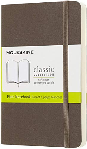 """Moleskine Classic Notebook, Soft Cover, Pocket (3.5"""" x 5.5"""") Plain/Blank, Earth Brown, 192 Pages"""