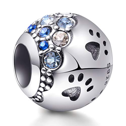 Paw Pet Charms - Emostar Sterling Silver Dog Paw Print Charm Puppy Pet Paw Footprint Charm Bead with Cubic Zirconias for Women Bracelets