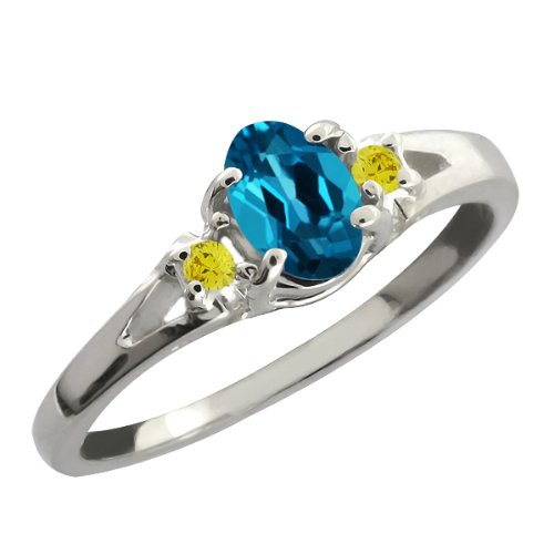 Gem Stone King 0.59 Ct London Blue Oval Topaz and Canary Diamond Sterling Silver Ring (Size 6)