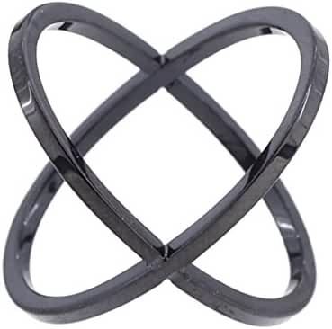 Gunmetal Criss Cross X Shaped Black Titanium Finger Ring