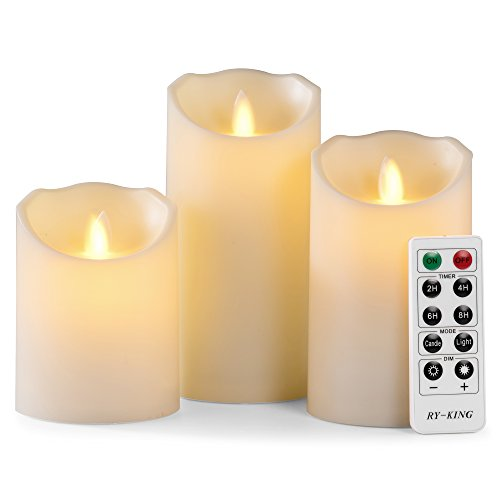 RY King Indoor Outdoor Large Flameless Candles Led Battery Operated - with Remote Control Timer Flickering Flame White Pillar Candle Lights - Set of 3 Unscented 4 5 6