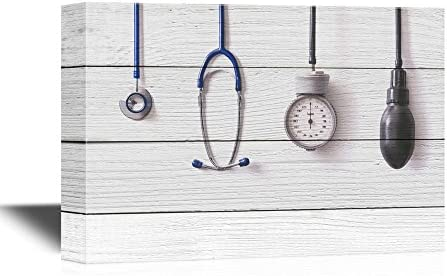 Clinic Medical Apparatus and Instruments on Wood Style Background