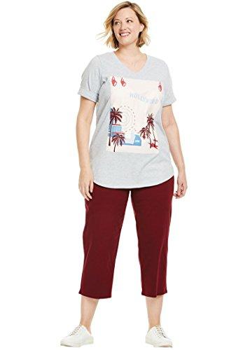 Womens Knit Cuff Pant - Woman Within Women's Plus Size Knit Capri Pants Set