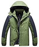 Heihuohua Men's Mountain Waterproof Ski Snowboard Jacket Windproof Fleece Lined Outdoor Hiking Coat (US XL(Asia 4XL), DarkGreen)