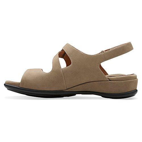 Clarks Mujeres de Tiffani Aldora sandalias de cuña Beige Leather
