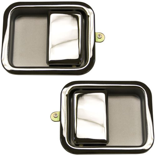 - 1987-1993 Jeep Wrangler (Full Size Door) Front Chrome Outside Outer Exterior Door Handles Pair Left Driver And Right Passenger Side (1987 87 1988 88 1989 89 1990 90 1991 91 1992 92 1993 93)