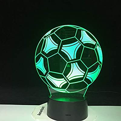 BFMBCHDJ Lámpara de fútbol fútbol 3D Lámpara de efecto visual de luz nocturna Interruptor táctil 7 Cambio de color LED Lámpara de mesa de luz nocturna para dormitorio de niños en AliExpress:
