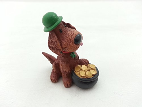Hallmark Merry Miniatures Four-Leaf Clover Irish Setter March Figurine
