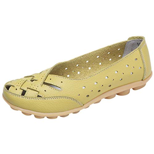 Women Shoes,Boomboom Soft Lady Flats Sandal Leather Ankle Casual Slipper Single Shoes Green US 5.5