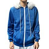 Molagogo Undertale Sans Cosplay Blue Coat Costume Hoodie Jacket Sweatshirts (L)