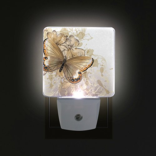 LORVIES Floral Background With Butterfly Plug in LED Night Light Auto Sensor Smart Dusk to Dawn Decorative Night for Bedroom, Bathroom, Kitchen, Hallway, Stairs,Hallway,Baby's Room, Energy Saving by LORVIES