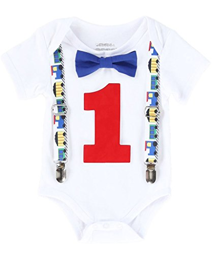 Noah's Boytique Baby Boys First Birthday Outfit Train Theme Blue Number Red Bow 12-18 Months - Theme Train