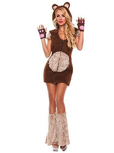 Starline Women's Cuddle Me Bear 3 Piece Costume Set, Brown, Large ()