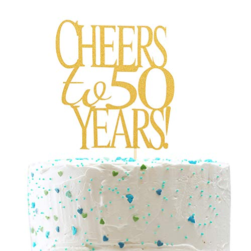 Cheers to 50 Years Cake Topper -Gold Glitter Hello 50 - Happy 50 Birthday Cake Topper 50th Birthday/Wedding Anniversary Party Decoration -