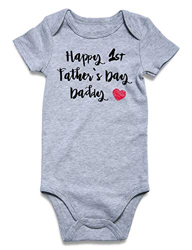 (BFUSTYLE Toddler Kid Babies Boys' Girls' Pregnancy Announcement Romper Fall Autumn 100% Cotton Half Birthday Onesie Happy 1st Father's Day Daddy Bodysuit Heart Shirt 6-12)