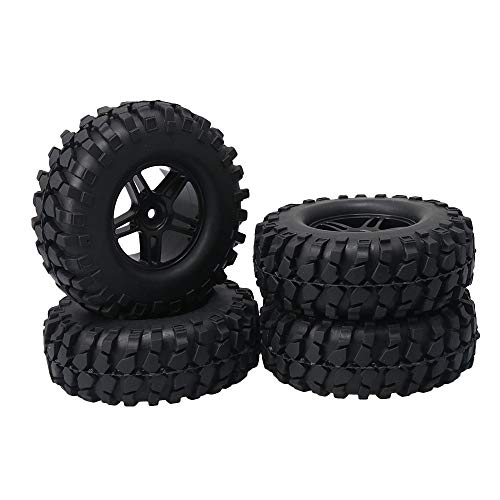 Mxfans 4X Black Rubber Tires & Five-Pointed Star Wheel for RC 1:10 Rock Crawler