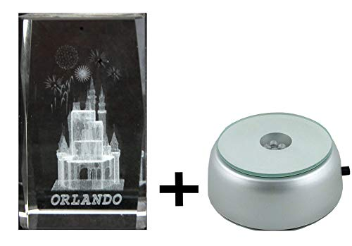 CASTLE in 3D Laser art Crystal block + 4 LED light base. GREAT souvenir from ORLANDO -