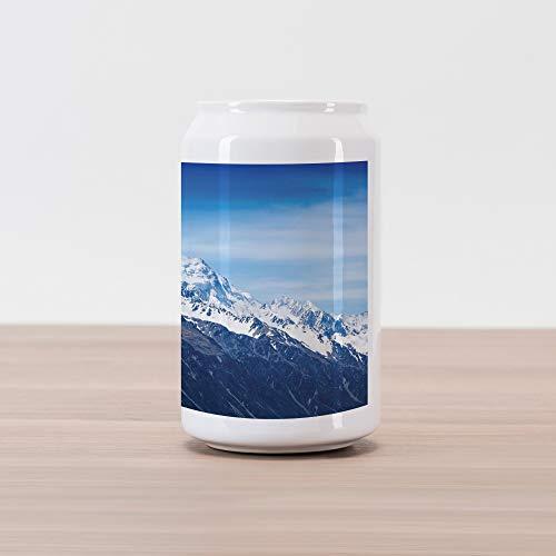 (Lunarable Mountain Cola Can Shape Piggy Bank, Idyllic Snowy Mountain Summit Majestic Nature Beauty Glacier Landscape Image, Ceramic Cola Shaped Coin Box Money Bank for Cash Saving, Blue White Black)