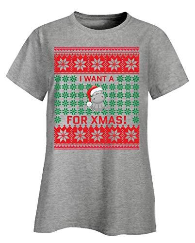 I Want a Hippo for Xmas - Christmas Santa Hippo Quote - Ladies T-Shirt Ash Grey