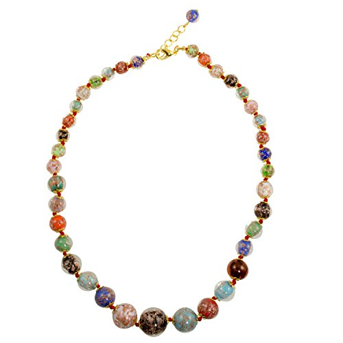 Genuine Venice Graduated Murano Sommerso Aventurina Glass Bead Strand Necklace in Multi-color, 20+2
