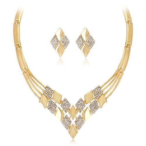 Plated Avon Gold (Hbinydepial Women KC Gold Plated Rhombus Shape Necklace Earrings Rhinestones Jewelry Set)