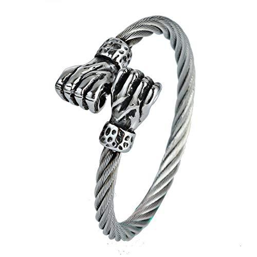 Adisaer Stainless Steel Bracelet for Men Wire Double Fist Black Best