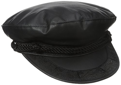 Aegean Unisex Leather Fisherman's Cap, Black, Large from Aegean