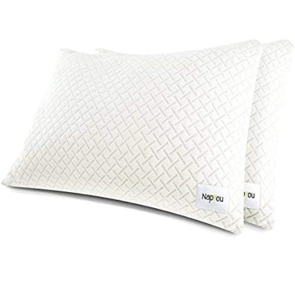 NapYou Official Best Pillows for Sleeping (2 Pack King) Shredded Certipur Memory Foam Pillow with Unique and Luxury Pillow Cover Design for Ultimate Breathability Made with Organic Cotton