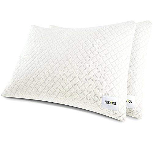 NapYou Official Best Pillows for Sleeping (2 Pack Queen) Shredded Certipur Memory Foam Pillow with Unique and Luxury Pillow Cover Design for Ultimate Breathability Made with Organic Cotton