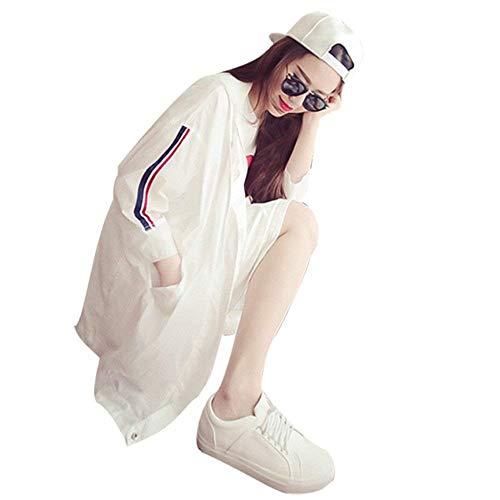 Lunga Casual Coulisse Bianca Giacca Donna Giaccone Stripe Confortevole Cappuccio Outerwear Cerniera Trench Con Moda Abbigliamento Autunno Manica PxwqOxAB